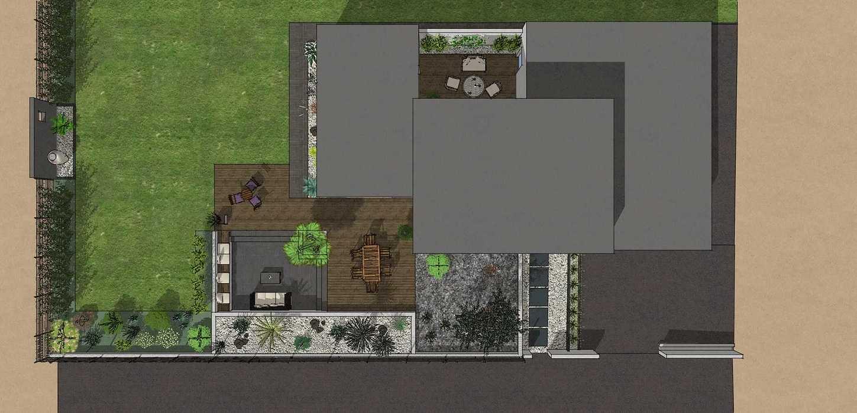 Création complète du jardin dans un style moderne en prenant en compte les vis-à-vis et différents points de vue de la maison, terrasse a double niveau. - PLERIN jolly4