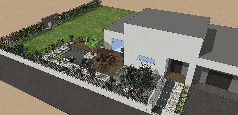 Création complète du jardin dans un style moderne en prenant en compte les vis-à-vis et différents points de vue de la maison, terrasse a double niveau. - PLERIN jolly5