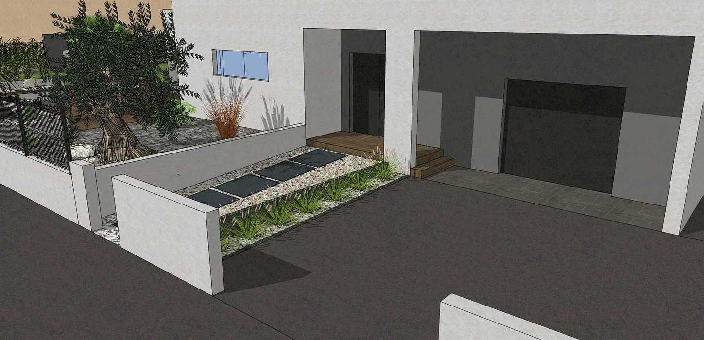 Création complète du jardin dans un style moderne en prenant en compte les vis-à-vis et différents points de vue de la maison, terrasse a double niveau. - PLERIN jolly6