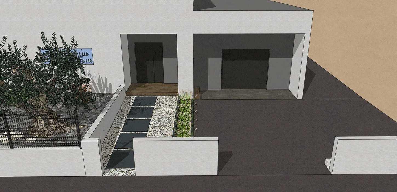 Création complète du jardin dans un style moderne en prenant en compte les vis-à-vis et différents points de vue de la maison, terrasse a double niveau. - PLERIN jolly7