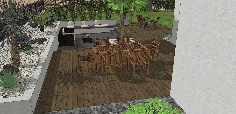 Création complète du jardin dans un style moderne en prenant en compte les vis-à-vis et différents points de vue de la maison, terrasse a double niveau. - PLERIN jolly9