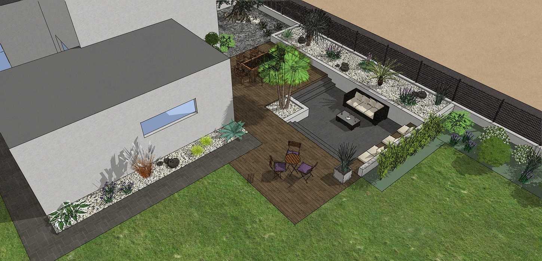 Création complète du jardin dans un style moderne en prenant en compte les vis-à-vis et différents points de vue de la maison, terrasse a double niveau. - PLERIN 0